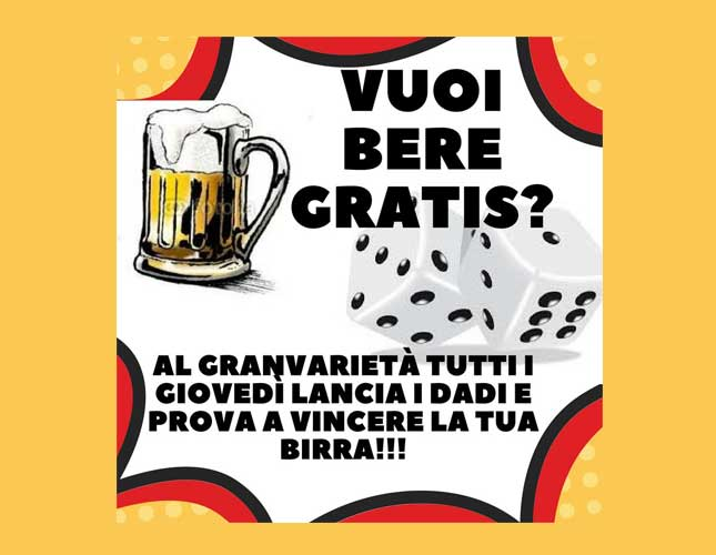 GIOVEDÌ: Gioca da GranVarietà e vinci la tua birra!